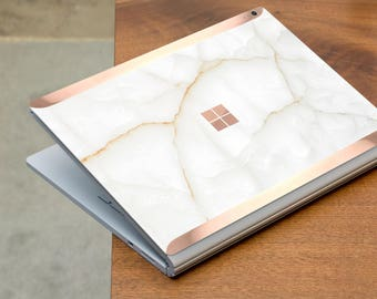 White Stone Marble and Rose Gold Edge Vinyl Skin  Microsoft Surface Book 2 , Surface Laptop 2 , Surface Pro 6  . Surface Go . Monogram
