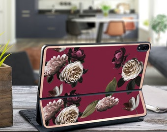 "Wine Flowerly Collection and Rose Gold Vinyl Skin Decal - Apple Smart Keyboard Folio Magic Keyboard  . iPad Pro 12.9"" . iPad Air 10.5"