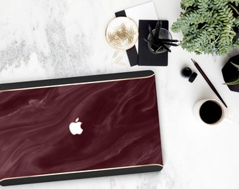 Bold Burgundy Swirl Marble Black Velvet . Distinctive    Custom MonogramMacbook Pro 13 A1989 A2159 . Pro 16 Touch A2141 . A1990