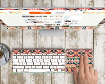 """Ethnic Coral Skin for iMac 21.5""""  . iMac 27"""" 5k (Includes Wireless Apple Keyboard / Apple Magic Touchpad / Foot). Monogram"""