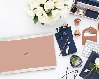 Earth Tone and Cream Duo Tone . Distinctive Macbook Hard Case and Bold Rose Gold Accents . Macbook Pro 13 Case . Air 13 . Custom Monogram