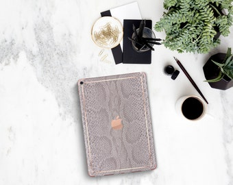 """Silver Snake with Rose Gold Detailing Vinyl Skin Decal for the iPad Pro 11 , iPad Pro 12.9 , iPad Air 10.5"""" , iPad mini 5 . Platinum Edition"""