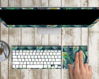 "Peacock Skin Vinyl Decal for iMac 21.5""  . iMac 27"" 5k (Includes Wireless Apple Keyboard / Apple Magic Touchpad / Foot). Monogram"