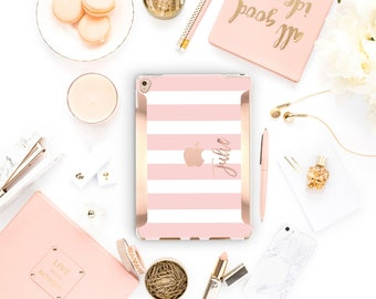 "Pink Stripes iPad Case . iPad Pro 10.5 . Rose Gold .iPad Pro 12.9"" Apple Smart Keyboard compatible Hard Case"