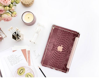 "Burgundy Crocodile with Rose Gold Smart Cover Hard Case for iPad 9.7 2018 iPad Pro 12.9 2018 . iPad Pro 11"" . iPad Air 10.5"""