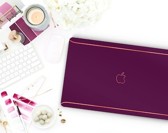 Pop Magenta Macbook Pro 13 Case Macbook Air Case Laptop Case Macbook Case . Magenta and Orange Chrome Edge Detailing - Platinum