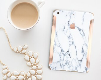 Marble Bianco Sivec with Rose Gold Detailing Vinyl Skin for the iPad Air 2, iPad mini 4 , iPad Pro - Platinum Edition