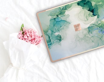 Green Turquoise Ink Marble and Rose Gold Edge Vinyl Skin Microsoft Surface Book 2 , Surface Laptop 2 , Surface Pro 6 . Surface Go . Monogram