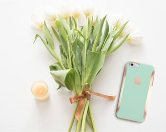 Paris Green Mint and Rose Gold Hard Case Otterbox Symmetry              . iPhone X . iPhone Xs Max . iPhone XR . iPhone 8 . PopSocket