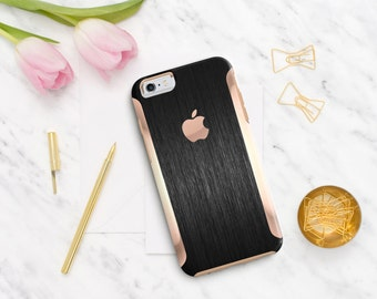 Brushed Black with Rose Gold   Hard Case Otterbox Symmetry. iPhone X . iPhone Xs Max . iPhone XR . iPhone 8 . PopSocket