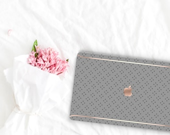 Spanish Gray Pattern Collection Leather Macbook Case . Distinctive Macbook Hard Case and Rose Gold . Macbook Pro 13 Case . Custom Monogram
