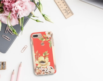Brushed Coral Flowerly Collection and Rose Gold Hard Case Otterbox Symmetry  iPhone SE 2020   iPhone 11 Pro Max   iPhone XR      Monogram