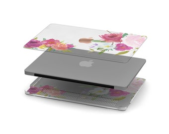 Rosey Crystal Clear Transparent Macbook Case . Distinctive Macbook Hard Case and Rose Gold Apple . Macbook Pro 13 Case . Monogram