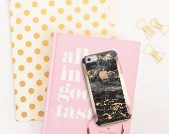 Brushed Platinum Edition Black & Gold Marble with Rose Gold Accents Hybrid Hard Case Otterbox Symmetry iPhone 6/6s / 6s Plus / S7 / S7 Edge
