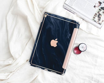 "Blue Navy Swirl with Rose Gold Smart Cover Hard Case . Kate Spade Inspired.  iPad Pro 12.9 2018 . iPad Pro 11"" . iPad Air 10.5"". iPad Mini 5"