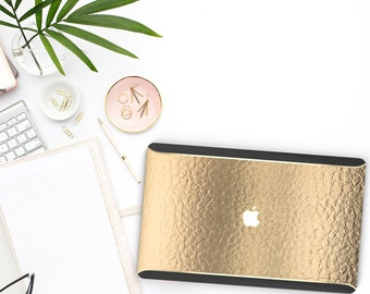 Macbook Pro 13 Case Macbook Air Case Laptop Case Macbook Case . Elegant Gold Alligator  Gold Chrome Black Velvet Edge - Platinum