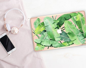 Banana Leaf       . Distinctive Macbook Hard Case and Bold Rose Gold Accents . Macbook Pro 13 Case . Custom Monogram