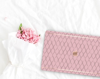Cameo Pink Pattern Collection Leather Macbook Case . Distinctive Macbook Hard Case and Rose Gold . Macbook Pro 13 Case . Custom Monogram
