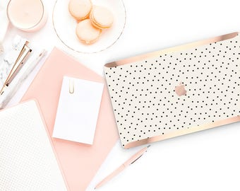 Dots  Cream                  . Distinctive Macbook Hard Case and Bold Rose Gold Accents . Macbook Pro 13 Case . Custom Monogram