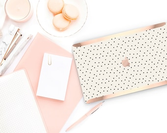 Dots  Cream                  . Distinctive Macbook Hard Case and Bold Rose Gold Accents . Macbook Pro 13 Case A2159  . Custom Monogram