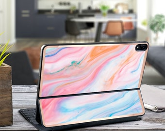 "Pastel Marble Swirl and Rose Gold Vinyl Skin Decal for  Apple Smart Keyboard Folio Magic Keyboard  . iPad Pro 12.9"" . iPad Pro 2020"""