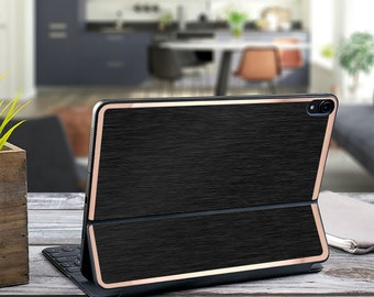 "Brushed Black and Rose Gold Vinyl Skin Decal for  Apple Smart Keyboard Folio Magic Keyboard  . iPad Pro 12.9"" . iPad Pro 2020"""