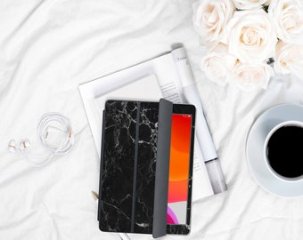 "Black Marble and Rose Gold Vinyl Skin Decal for the Apple Smart Cover Folio iPad 10.2 , iPad Pro 11"" . iPad Pro 12.9"" 4 2020"