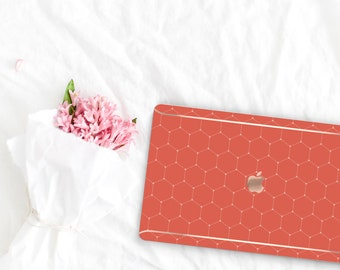 Burnt Orange Pattern Collection Leather Macbook Case . Distinctive Macbook Hard Case and Rose Gold . Macbook Pro 13 Case . Custom Monogram
