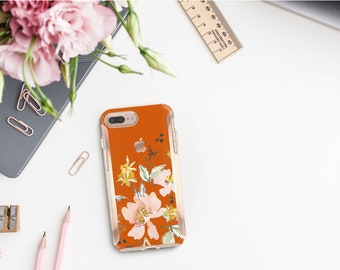 Light Burnt Orange Flowerly Collection and Rose Gold Hard Case Otterbox Symmetry. iPhone X . iPhone Xs Max . iPhone XR . iPhone 8 . Monogram