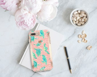 Sea Turtle and Rose Gold . Lilly Pulitzer Inspired . Hard Case Otterbox Symmetry. iPhone X . iPhone Xs Max . iPhone XR . iPhone 8 . Monogram