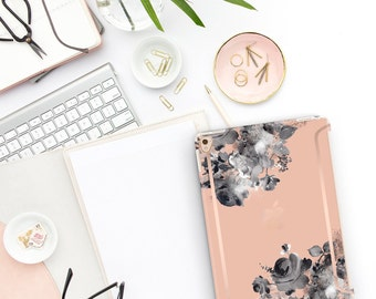 """Dessert Sand Flowerly Collection Bold Rose Gold Accents   Smart Keyboard compatible Hard . iPad Air 10.5"""" . iPad Mini 5 . iPad Pro 10.5"""""""