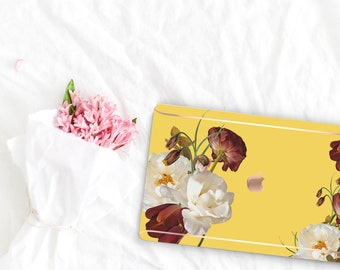 Canary Flowerly Collection Leather Macbook Case . Distinctive Macbook Hard Case and Rose Gold . Macbook Pro 13 Case A2159  . Custom Monogram
