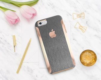 Brushed Gray with Rose Gold   Hard Case Otterbox Symmetry. iPhone X . iPhone Xs Max . iPhone XR . iPhone 8 . PopSocket