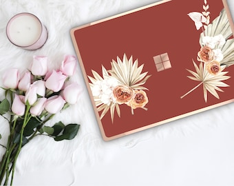 Cinnamon Spice Flowerly Collection and Rose Gold Edge Vinyl Skin Microsoft Surface Book 2 , Surface Laptop 2 , Surface Pro 6 . Surface Go
