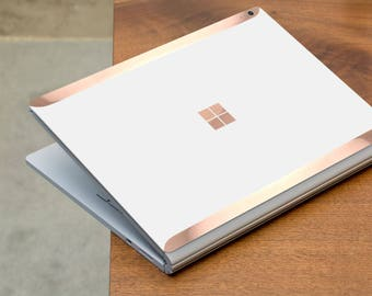White Pearl Pearlescent and Rose Gold Edge Vinyl Skin  Microsoft Surface Book 2 , Surface Laptop 2 , Surface Pro 6  . Surface Go . Monogram