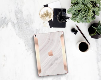 White Pink Marble Stone with Rose Gold Detailing Vinyl Skin for the iPad Air 2, iPad mini 4 , iPad Pro - Platinum Edition