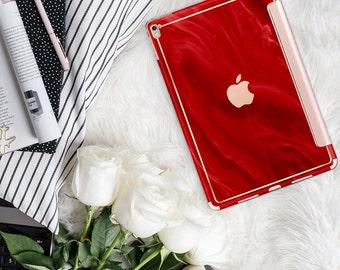 "Lipstick Red Swirl with Rose Gold Smart Cover Hard Case . iPad Pro 12.9"" 2020 . iPad Pro 11"" . iPad Air 10.5"". iPad Pro 2020 Custom Monogram"
