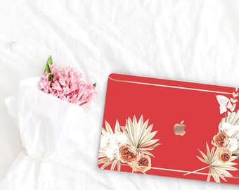 Red Hot Chili Flowerly Collection Leather Macbook Case . Distinctive Macbook Hard Case and Rose Gold . Macbook Pro 13 Case . Custom Monogram