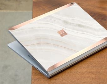 Marble Stone and Rose Gold Edge Vinyl Skin  Microsoft Surface Pro X , Surface Laptop 3 , Surface Pro 7  . Surface Go . Surface Book 3