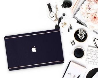 Leather Navy Blue and Thin Rose Gold Accents Macbook Hard Case . Hand-Made Macbook Hard Case   . Macbook Air 13 2018 A1990 . A1990