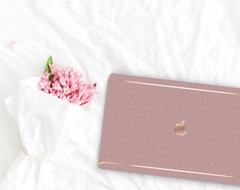 Mauve Mist . Pattern Collection Leather Macbook Case . Distinctive Macbook Hard Case and Rose Gold . Macbook Pro 13 Case . Custom Monogram
