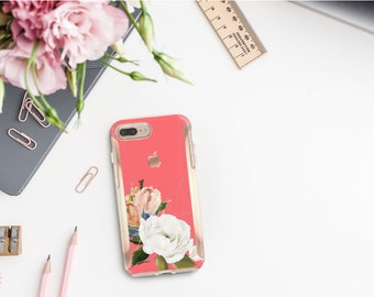 Light Coral Flowerly Collection and Rose Gold Hard Case Otterbox Symmetry. iPhone X . iPhone Xs Max . iPhone XR . iPhone 8 . Monogram