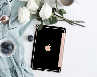 "Simply Black with Rose Gold Smart Cover Hard Case for      iPad 9.7 2018  .  iPad Pro 12.9 2018 . iPad Pro 11"" . iPad Air 10.5"". iPad Mini 5"