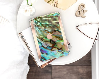 "iPad Case . iPad Pro 10.5 . Abalone Shell iPad Case and Rose Gold Detailing iPad Pro 9.7 iPad Pro 12.9"" Smart Keyboard Compatible Hard Case"