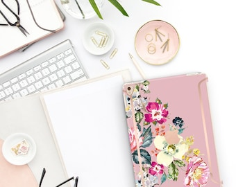 "Cameo Pink Flowerly Collection Bold Rose Gold Accents   Smart Keyboard compatible Hard . iPad Air 10.5"" . iPad Mini 5 . iPad Pro 10.5"""