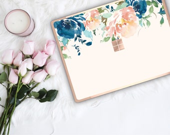 White Chalk Flowerly Collection and Rose Gold Edge Vinyl Skin Microsoft Surface Pro X , Surface Laptop 3 , Surface Pro 7 . Surface Go