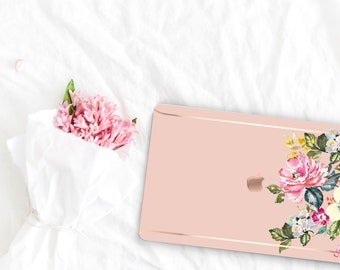 Dust Storm Flowerly Collection Leather Macbook Case . Distinctive Macbook Hard Case and Rose Gold . Macbook Pro 13 Case . Custom Monogram