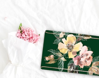 Phthalo Green Flowerly Collection Leather Macbook Case . Distinctive Macbook Hard Case and Rose Gold . Macbook Pro 13 Case . Custom Monogram