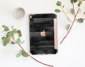 "Black Untreated Wood with Rose Gold Smart Cover Hard Case for      iPad 9.7 2018.  iPad Pro 12.9 2018 . iPad Pro 11"". iPad Air 10.5"""