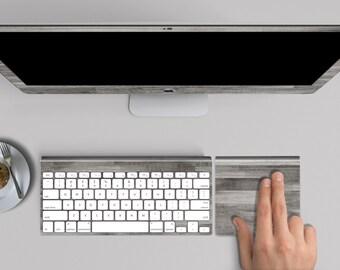 "Gray Untreated Wood Skin for iMac 21.5""  . iMac 27"" 5k (Includes Wireless Apple Keyboard / Apple Magic Touchpad / Foot). Monogram"